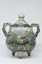 Antique Chinese Cloisonne Incense Burner - 8.5 Inches tall - Marked -  - $425.69