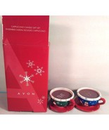AVON CAPPUCCINO CANDLE GIFT SET SCENTED CERAMIC HOLIDAY CHRISTMAS MUGS CUPS - $8.99