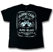 "JOHNNY CASH - ""THE MAN IN BLACK"" COUNTRY, GUITARS T-SHIRT / SZ. XL - $11.39"
