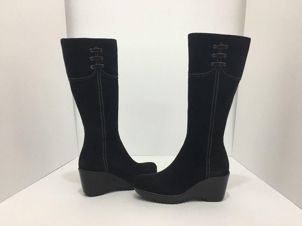 La Canadienne Galaxy Brown Suede Women's Knee High Platform Wedge Heel Boots 5 M