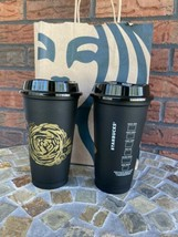 2 Starbucks 2021 Black Gold Rose Hot Cup Lid Reusable New Coffee Tea Mug - $19.60