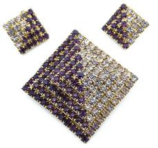 Vintage Rhinestone Pave Pyramid Brooch & Earrings Set Two Tone Stones - $24.95