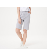 Quacker Factory Stretch Seersucker Shorts with Pockets, Charcoal, S - $29.69