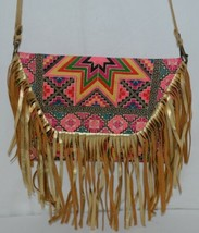 Unbranded Small Geometric Print Purse Gold Colored Fringe image 2