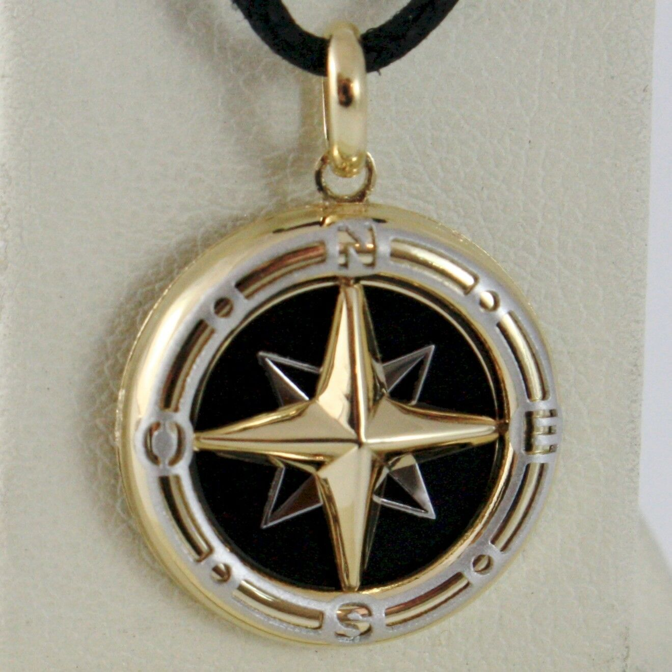 18K WHITE YELLOW GOLD ONYX 16 MM WIND ROSE COMPASS PENDANT, STAR, MADE IN ITALY