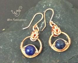 Handmade copper earrings: chainmail herringbone wire wrapped lapis lazuli - $35.00