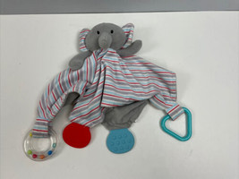 Modern Baby Elephant Lovey Teether Rattle Baby Security Blanket Plush - $29.70