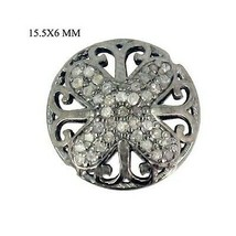925 Sterling Silver Natural 0.58 ct Diamond Pave Spacer Finding Filigree... - $102.54