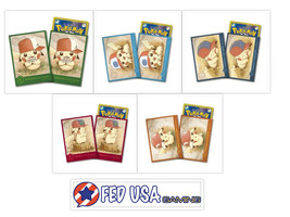 Japanese Pikachu Pokemon Card Sleeves Complete Set of 5 with 64 Sleeves ... - $79.99