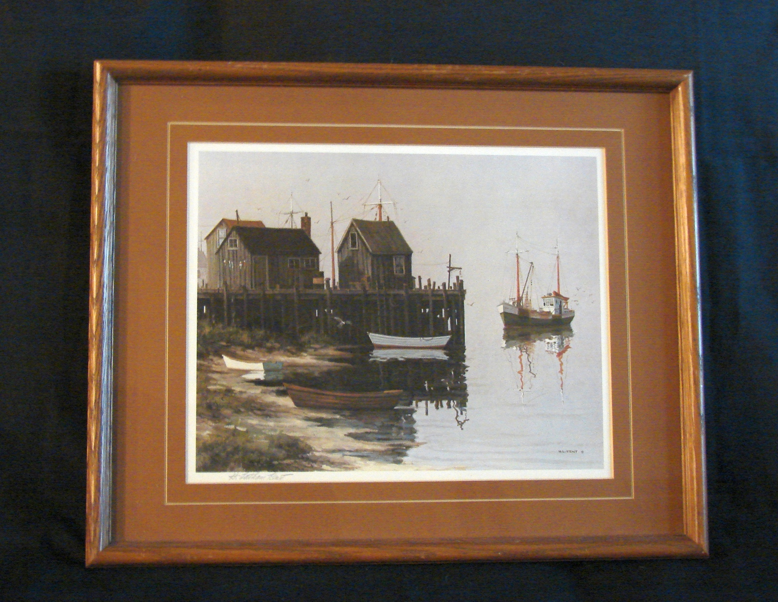 Primary image for Herman Latham Kent Signed, Matted, Framed  Print of Boats