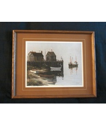 Herman Latham Kent Signed, Matted, Framed  Print of Boats - $45.00