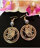 Gold Butterfly Pearl Hoop earrings - $20.00