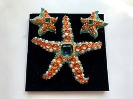 Kenneth Jay LANE KJL for Avon signed Blue Coral Orange Cabochon Brooch i... - $350.00