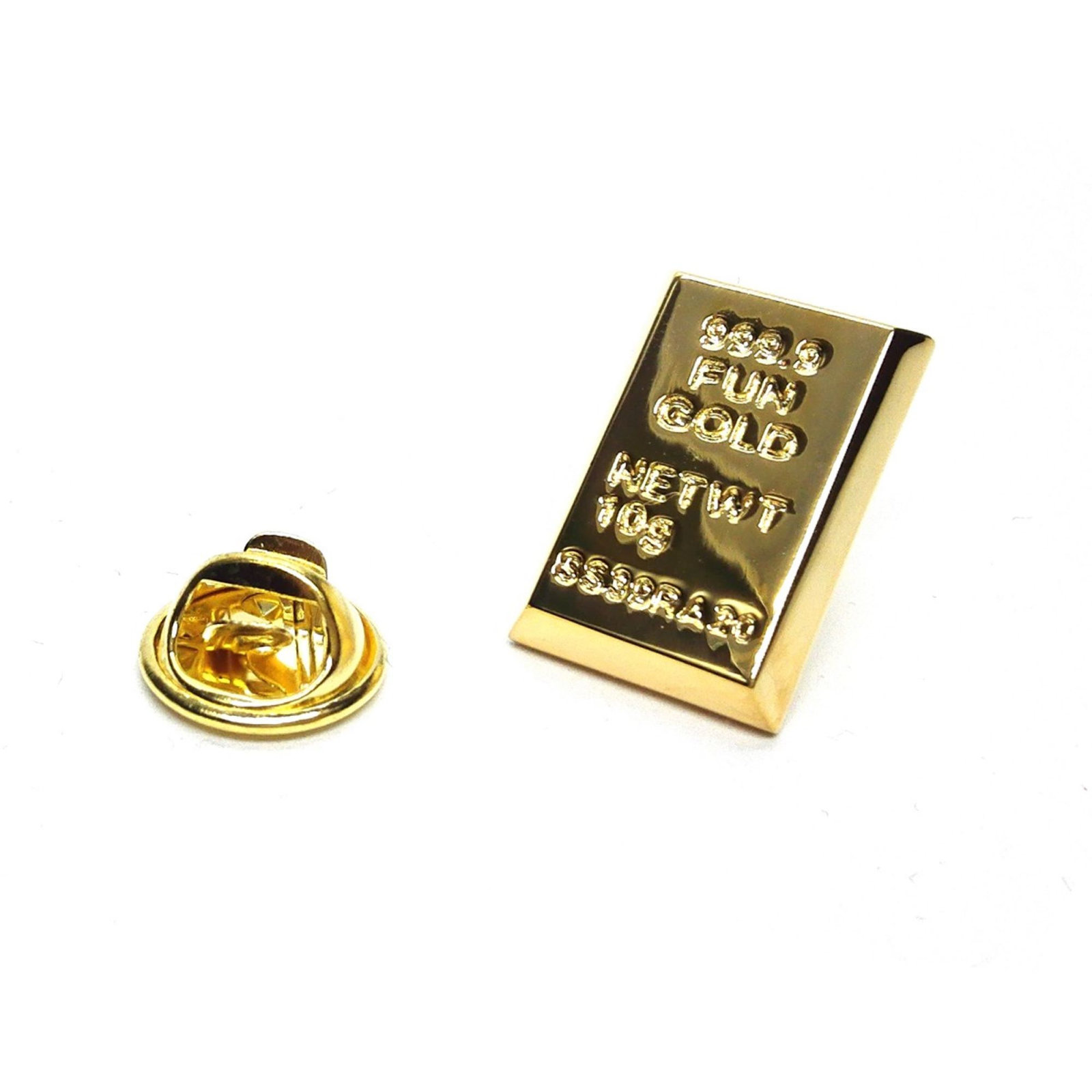 Gold Ingot very detailed pin badge, gold Lapel Pin Badge in gift box