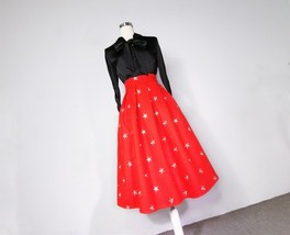 CHRISTMAS RED Winter Wool Midi Pleat Skirt High Waist Midi Skirt w. Star Pattern image 7