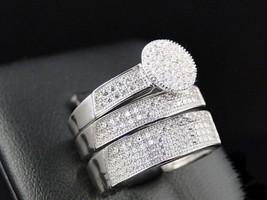 14K White Gold Fn His Her Diamond Engagement Bridal Wedding Band Trio R... - $150.99