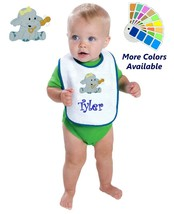 Personalized Baby Bib White Cotton Terry with Contrast Trim Baby Elephan... - $11.99
