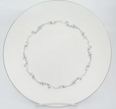 "Royal Doulton Coronet Dinner Plate 10.25"" White w Blue Gray Scroll Silve... - $8.90"