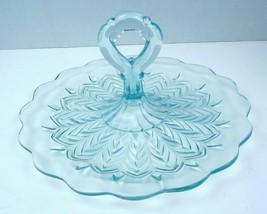 Elegant Depression Glass Light Blue Sandwich or dessert Plate/Tray Handle  - $23.36