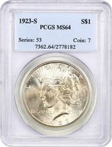 1923-S $1 PCGS MS64 - Peace Silver Dollar - $349.20