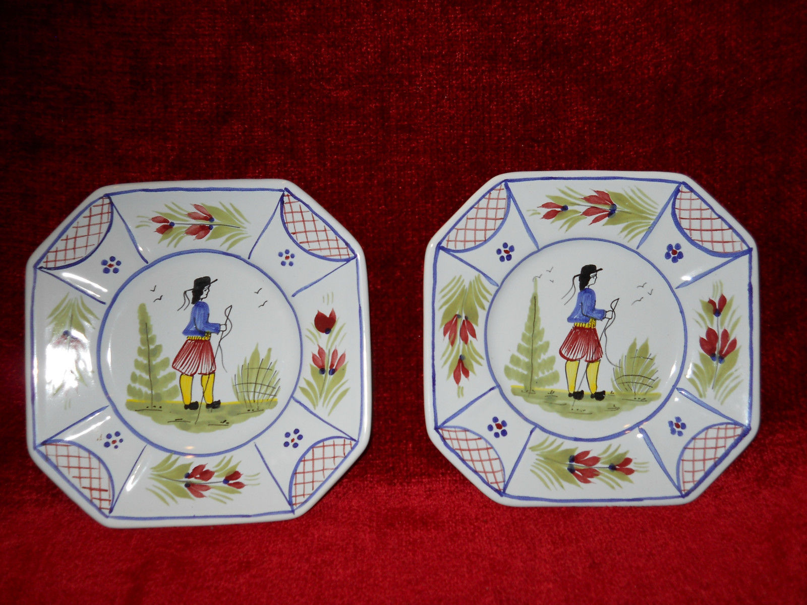 Primary image for Quimper Minstral man center set of 2  bread plates 6 1/2""