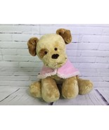 Build A Bear Tan and Brown Puppy Dog Plush Stuffed Animal With Pink Shaw... - $23.75