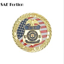 Federal Bureau Of Investigation Coin Gold Plating Commemorative Saint Mi... - $11.99