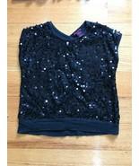Girls Kids Lipgloss Black Sequence Short Sleeve T-Shirt Top Blouse Size ... - $4.94