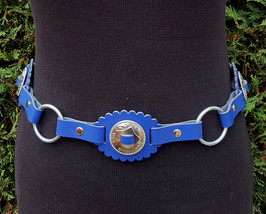 Handmade blue leather belt, Western style belt with conchos and O rings - $61.76
