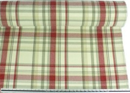 Tartan Check Wool Look and Feel Cream Red Upholstery Fabric Material 3 S... - $4.31+
