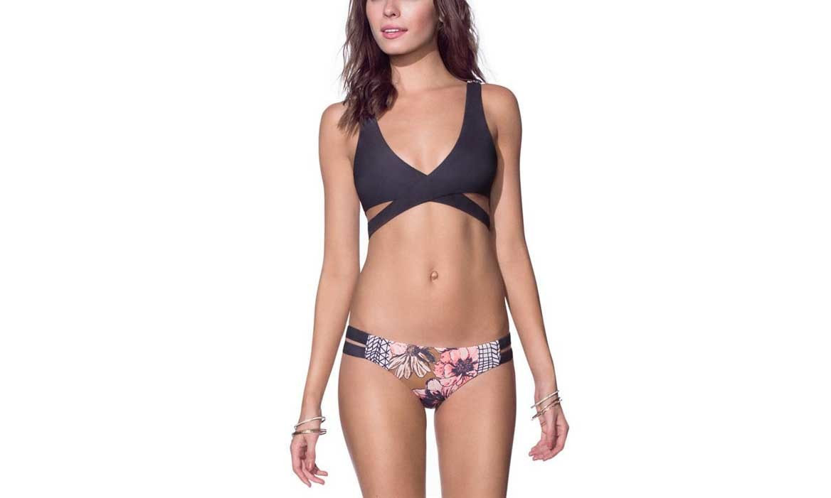 Women's Sexy Crossover Floral Printing Two Pieces Bikini Set