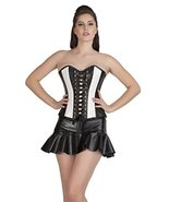 Black White Corset Faux Leather Gothic Costume Halloween Party Prom Over... - $47.99