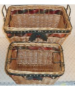 Two Decorative Straw Woven Metal Baskets With M... - $38.56