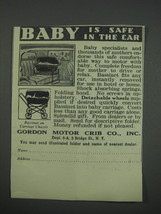 1930 Gordon Motor Crib Ad - Baby is safe in the car - $14.99