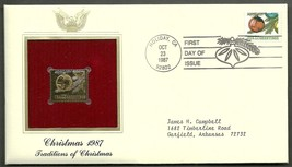 22 kt Golden Replica of US Stamp 1987 FDC  Christmas 1987 - $2.27