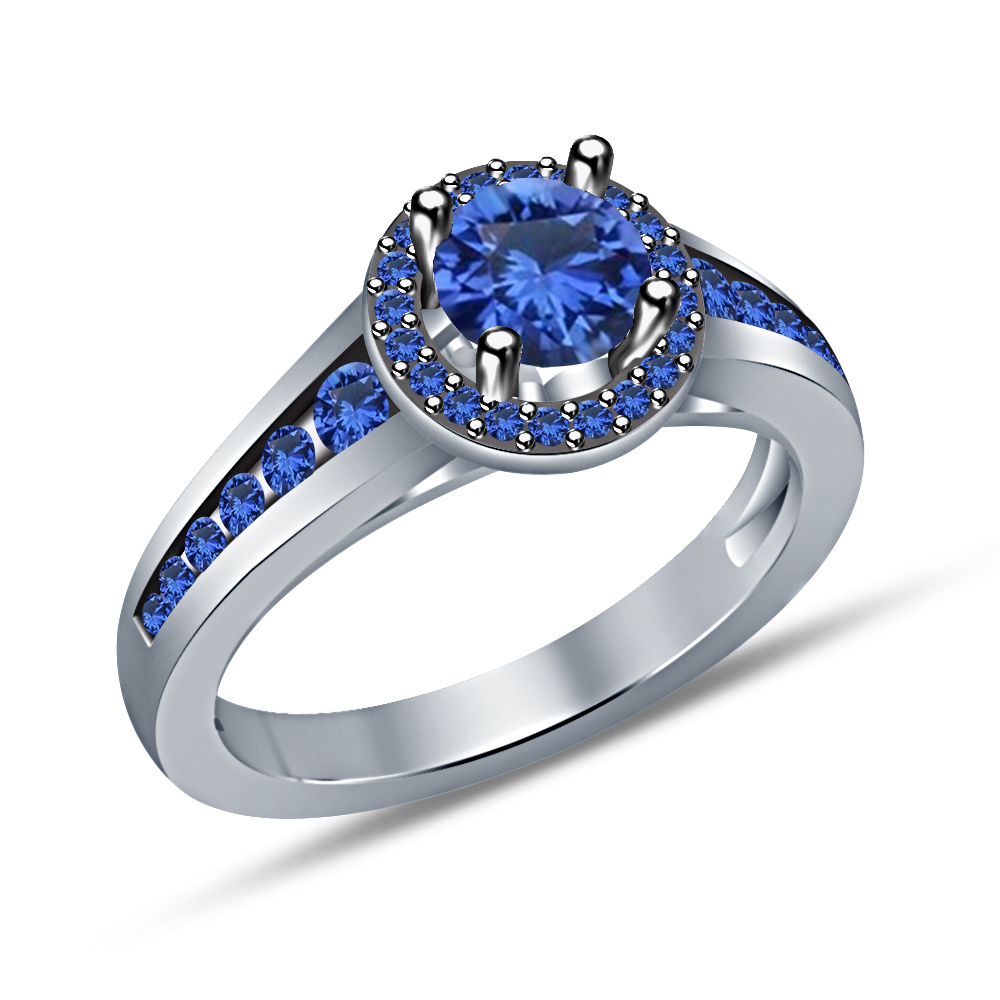 Primary image for Blue Sapphire Womens Ring White Gold 925 Pure Solid Silver Girls Engagement Ring