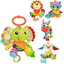 Plush Rattle With BB toy Lion Elephant Rabbit Monkey Doll soothing 4 sty... - $28.00