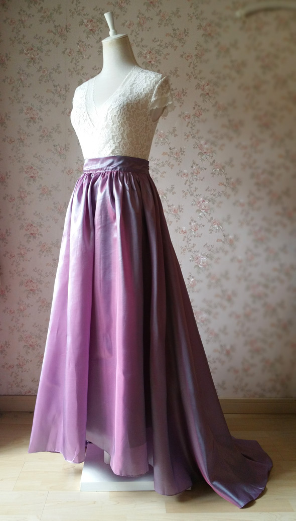 Women Maxi Skirt with Train High Waist Maxi Skirt Evening Long Skirt Train Skirt