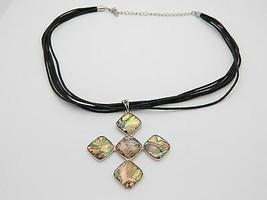 VTG Silver Tone Purple Abalone Shell Enameled Cross Necklace - $24.75