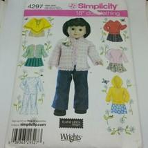 "Simplicity 4297 Doll Clothing 18"" Skirt Top Pants Coat Poncho Elaine Heigl - $6.93"