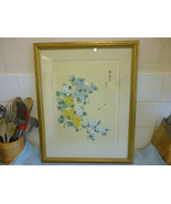 Vintage Signed Chinese Painting  On Silk Flowers and Insects  Scene - $157.43