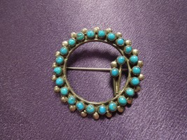 "Turquoise Silver Tone Pin Brooch Signed ""E"" Wreath Flower Shape Southwes... - $31.19"