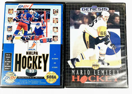 Sega Genesis 2 Game Lot Hockey Bundle NHLPA Hockey 93 Mario Lemieux Hockey - $5.24