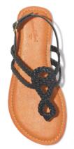 NEW Women's Universal Thread Black Jana Braided Quarter Strap Flat Sandals Wide image 3
