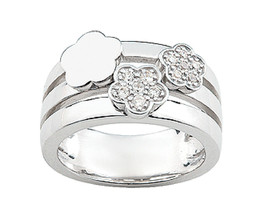 Ring Cacharel simple with flowers and stones Sterling Silver 0,925 CSR003Z - £41.82 GBP