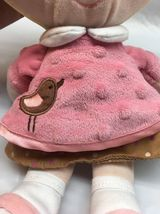 **Baby first Doll Plush Blonde Pigtails Pink Brown Bird Dress U3 image 8