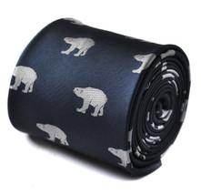 Frederick Thomas Navy Blue Mens Tie with polar bear pattern FT1519
