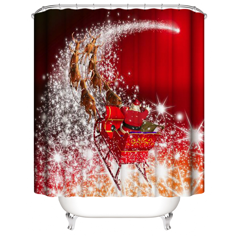 Urtains for bathroom waterproof cortina navidad christmas decoration for home shower curtain for