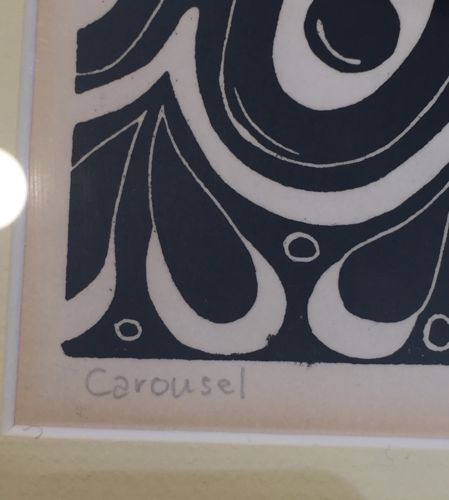 "Kim Webster 1977 ""Carousel"" Horse Signed Black Ink Framed Block Print"