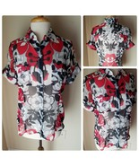 Nicola Women's Blouse Top Sheer Button Up Shirt Short Sleeve Floral Red ... - $24.17
